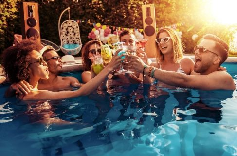 friends enjoying pool party