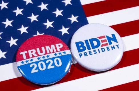 political button for trump and biden